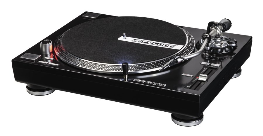 Direct Drive Turntable in Black with S-Shaped Tonearm