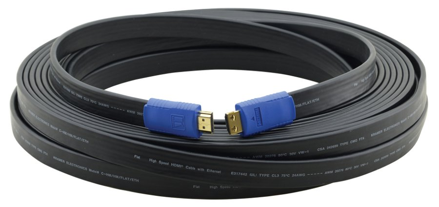 Kramer C-HM/HM/FLAT/ETH-50 50' High-Speed HDMI Flat Cable with Ethernet C-HM/HM/FLAT/ETH-50
