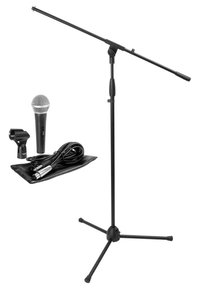 Microphone Stand Package with Dynamic Handheld Microphone and Tripod Boom Stand