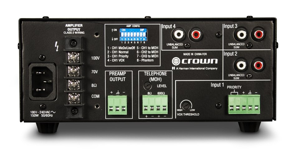 4-Channel 60W Mixer/Amplifier with 70/100V and 8 Ohm Outputs