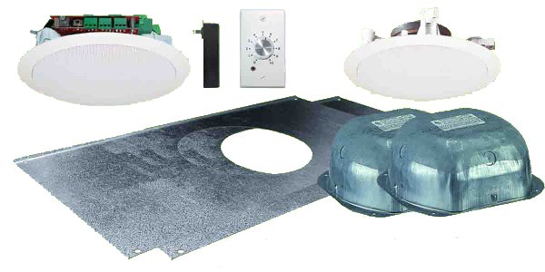 "Dual 5.25"" Ceiling Speaker Package with Volume Control Wall Plate and Installation Hardware"