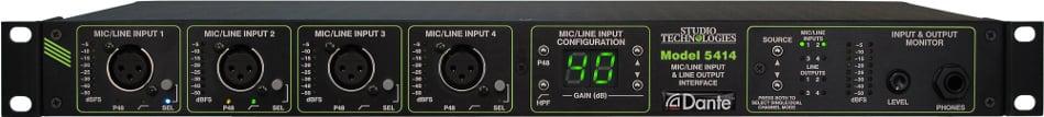 4 Channel Mic/Line Input, Line Output Analog Audio/Dante Interface