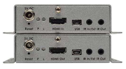 4K Ultra HD Extender for HDMI over One Fiber with RS-232 and 2-Way IR