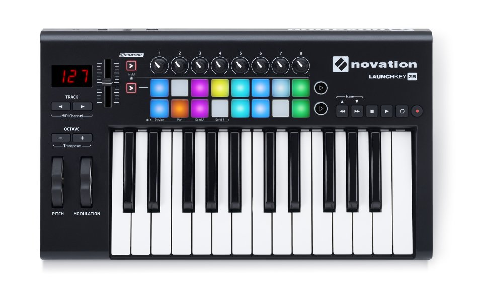 25-Key Keyboard Controller with 16 Velocity-Sensitive Trigger Pads