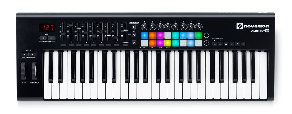 49-Key Keyboard Controller with 16 Velocity-Sensitive Trigger Pads