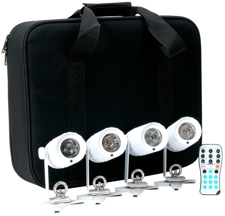Kit with 4 PinPoint GO Battery-Powered LED Pinspots with Remote and Case