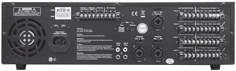 4-Zone 160W Commercial Amplifier with 25/70V and Low Impedance Outputs