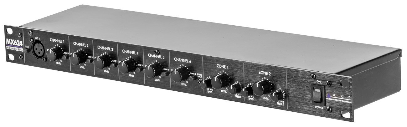 1RU 6 Channel Stereo Zone Mixer with 2 Zone Outputs