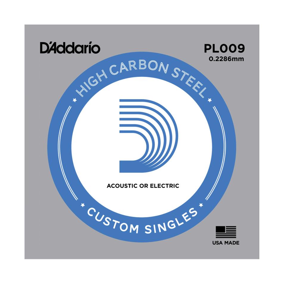 5 Pack of .009 Gauge Single Plain Steel Guitar Strings