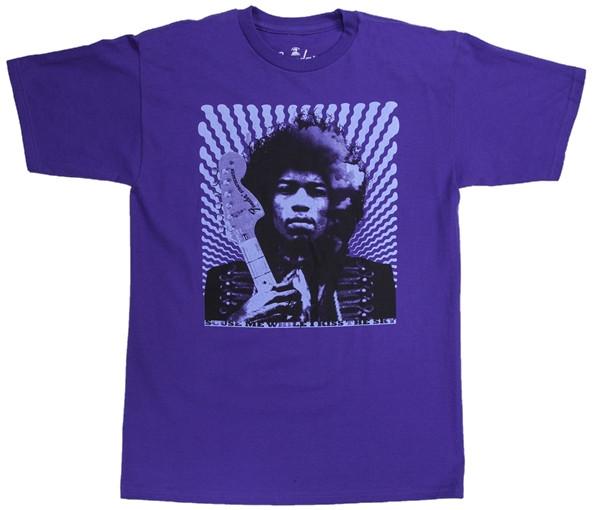 Large Jimi Hendrix Kiss The Sky T-Shirt in Purple