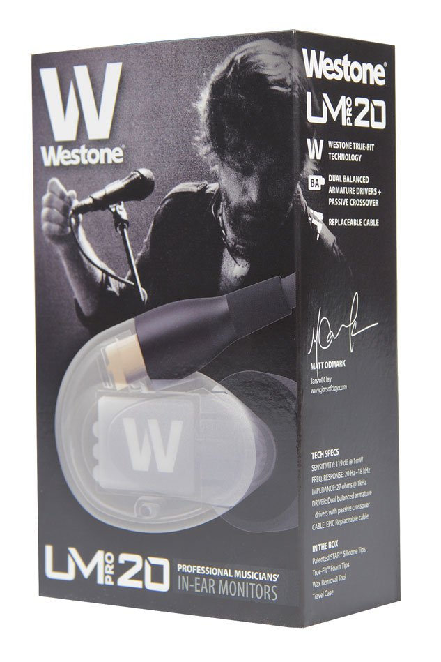 Westone UM Pro 20 High-Performance Dual Driver Earphone Monitors with Removable Cable in Clear UM-PRO-20