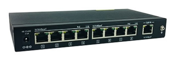 8 Port Network Switch with Uplink Port