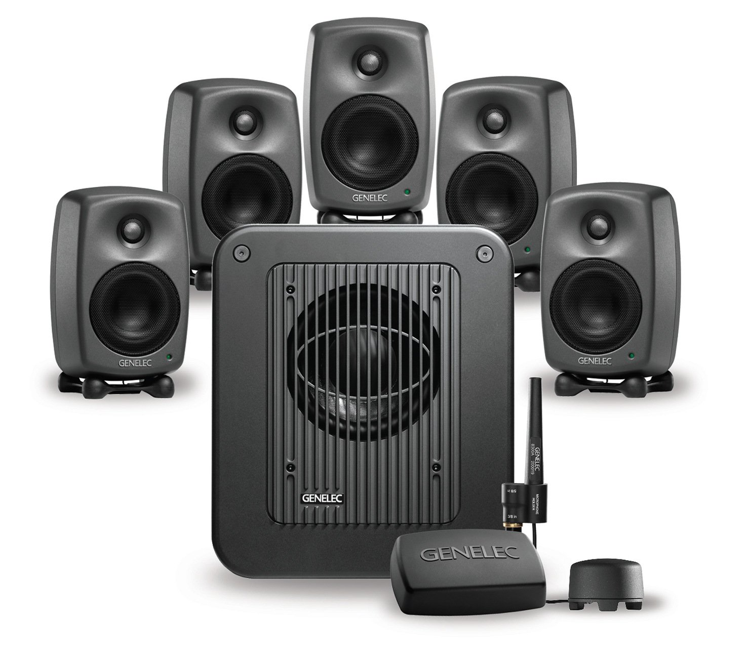 "Five 4"" 2-Way 100W Smart Active Studio Monitors with 7350A Monitoring Subwoofer"
