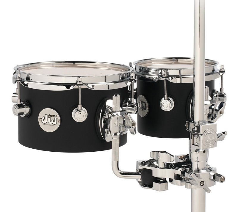 "DW Design Series 5""x8"", 5""x10"" Concert Toms in Black Satin with Chrome Hardware DDCT02BLCR"