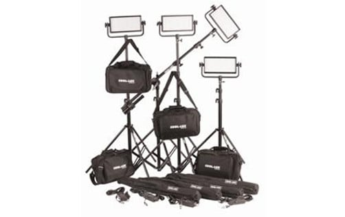 4x CL500 Daylight PRO Studio LED Spot Light Kit with V-Mount Battery Plates