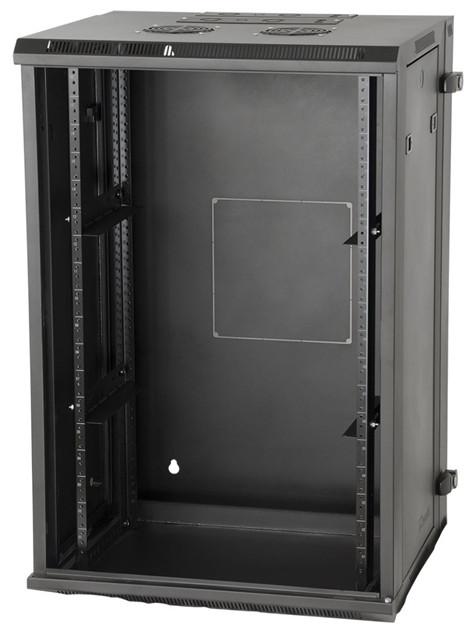 """Rackworks 9RU 21""""D Sectional Metal Wall Rack with Steel Door"""