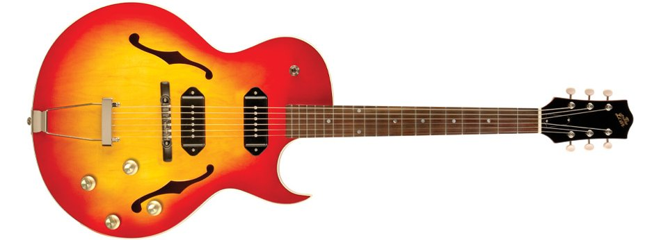 Full-Hollow Thinbody Single Cutaway Archtop Guitar with Dual P-90 Pickups in Cherryburst Finish