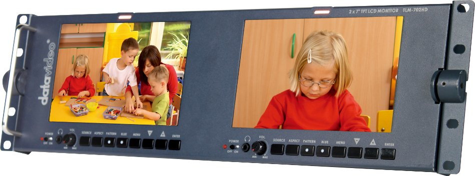 "Dual 7"" Screen LCD Monitor Rack Unit with HD-SDI Inputs"