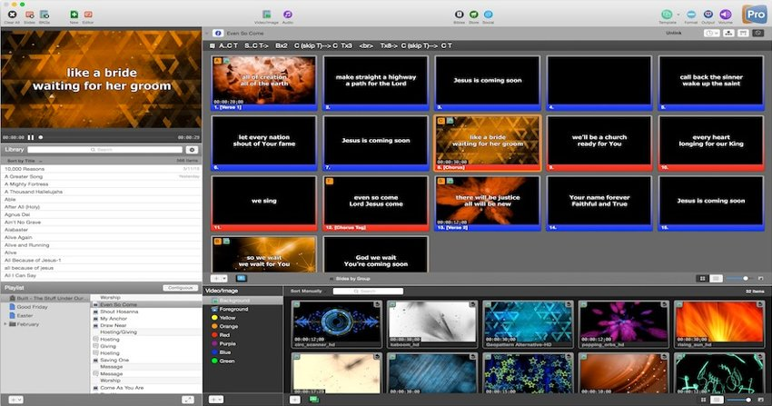 Worship live! Projection and worship planning software.