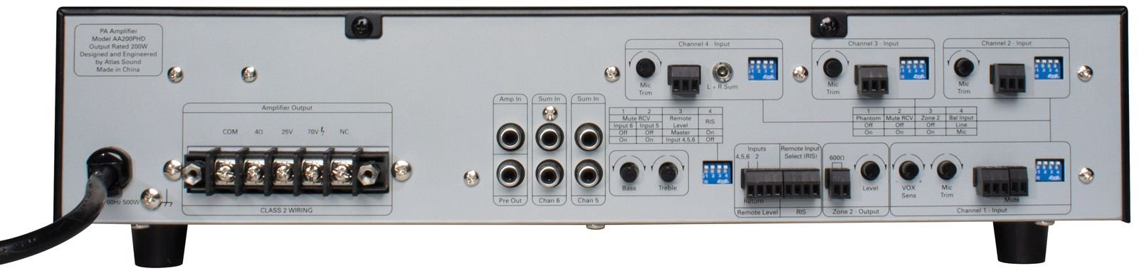 6-Input, 200W Mixer Amplifier with Automatic System Test (PHD)