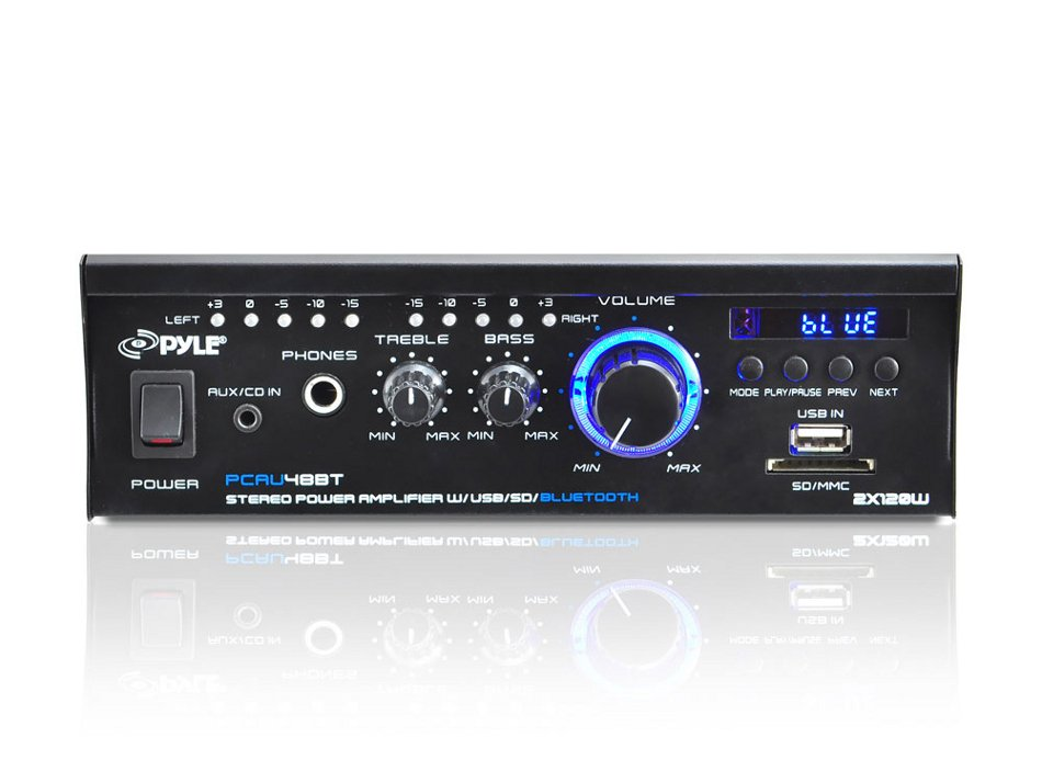Pyle Pro PCAU48BT 2x120W Power Amp, Mini Blue Series w/Bluetooth, USB Charging PCAU48BT