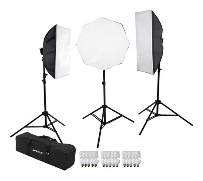 400W 3-Light D5 Daylight Softbox Kit with Carry Case