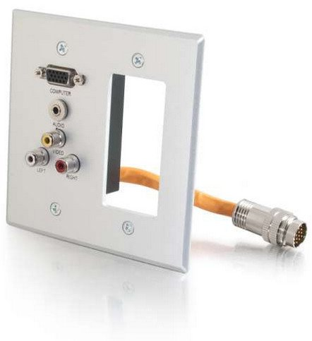 RapidRun 2-Gang Integrated VGA, 3.5mm, Composite, Stereo Audio Aluminum Wall Plate with Decora Cut Out
