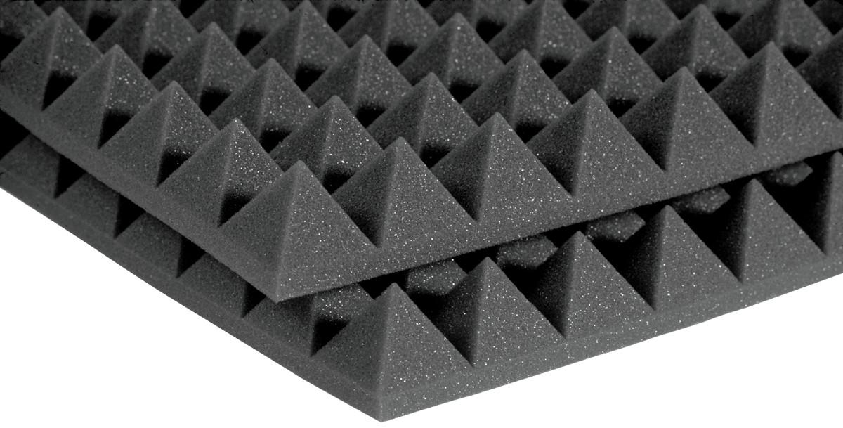 """Auralex 4PYR24PUR 2'x4'x4"""" StudioFoam Pyramids in Purple (Charcoal Shown) 4PYR24PUR"""