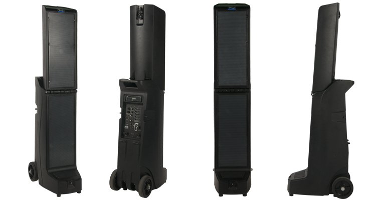 Bigfoot Portable Line Array with 4 Wireless Receivers, CD/MP3 Player, and Bluetooth Connectivity