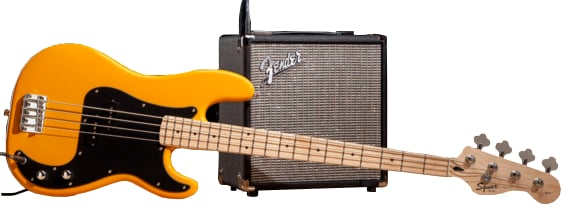 Affinity Series Butterscotch Blonde Precision Bass with Fender Rumble 15 Amplifier and Accessories