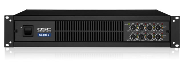 qsc cx108v 8 channel power amplifier 100w per channel at 70v full compass systems. Black Bedroom Furniture Sets. Home Design Ideas