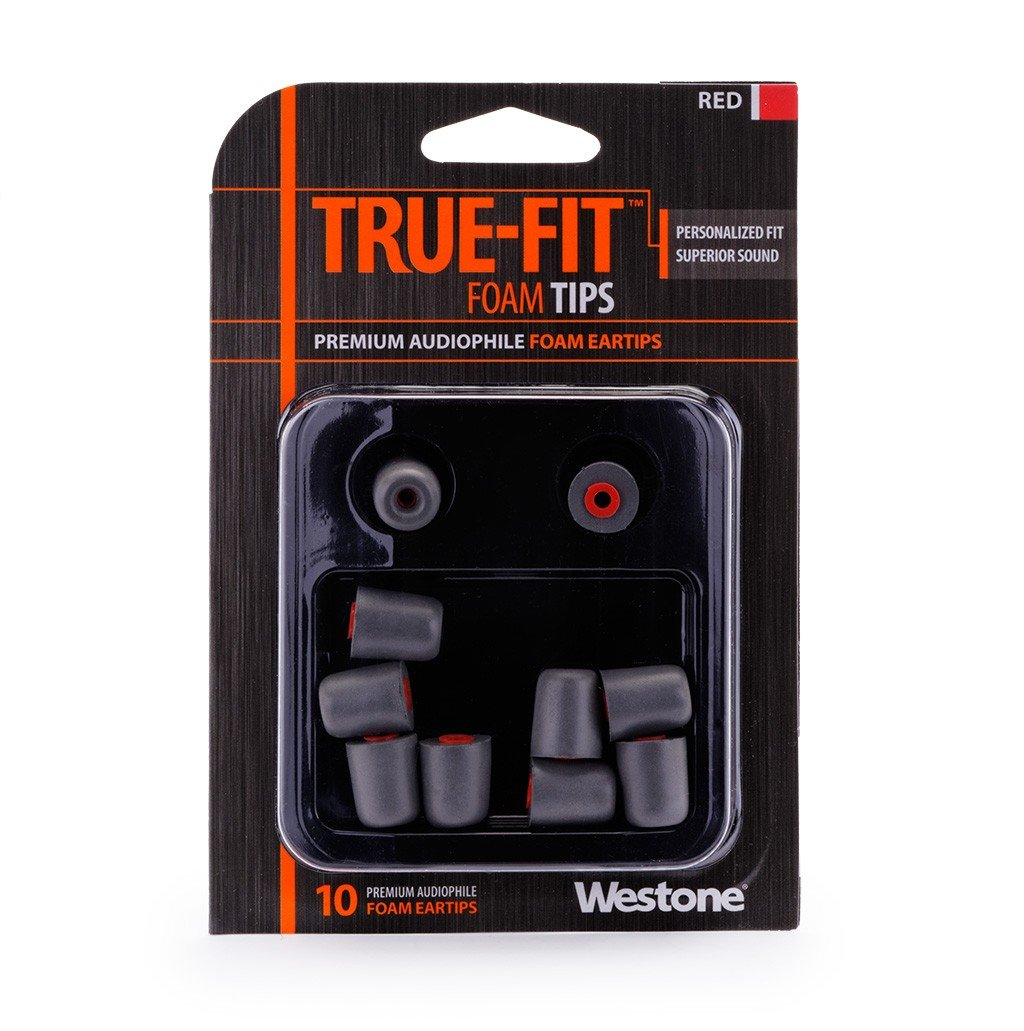 10-Pack of True-Fit Foam Earbud Tips with Red Attachment Ring