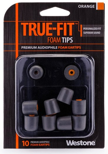 10-Pack of True-Fit Foam Earbud Tips with Orange Attachment Ring
