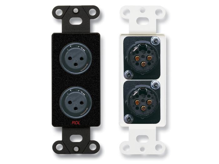 Dual XLR 3p Fem Jack, Decora Wall Plate, Black