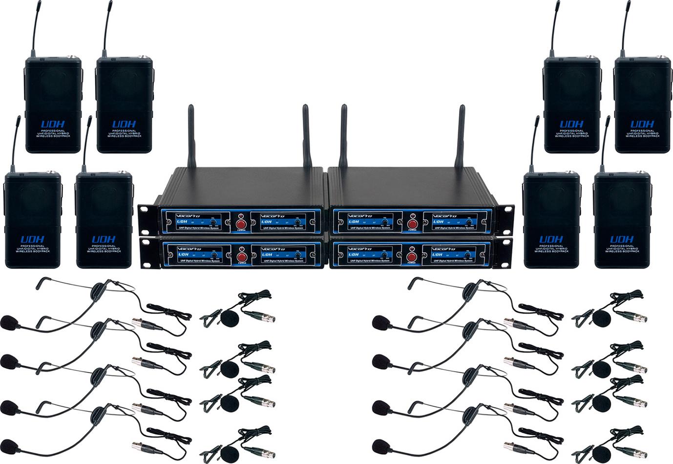 VocoPro UDH-PLAY 8 8-Ch, 900 Mhz, UHF/DSP Hybrid Bodypack Wireless Mic System UDH-PLAY-8