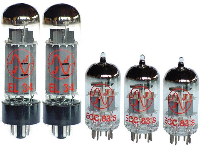 50W Tube Set for Marshall JMP and JCM800 Amplifiers - 3x ECC 38 S, 2x EL 34