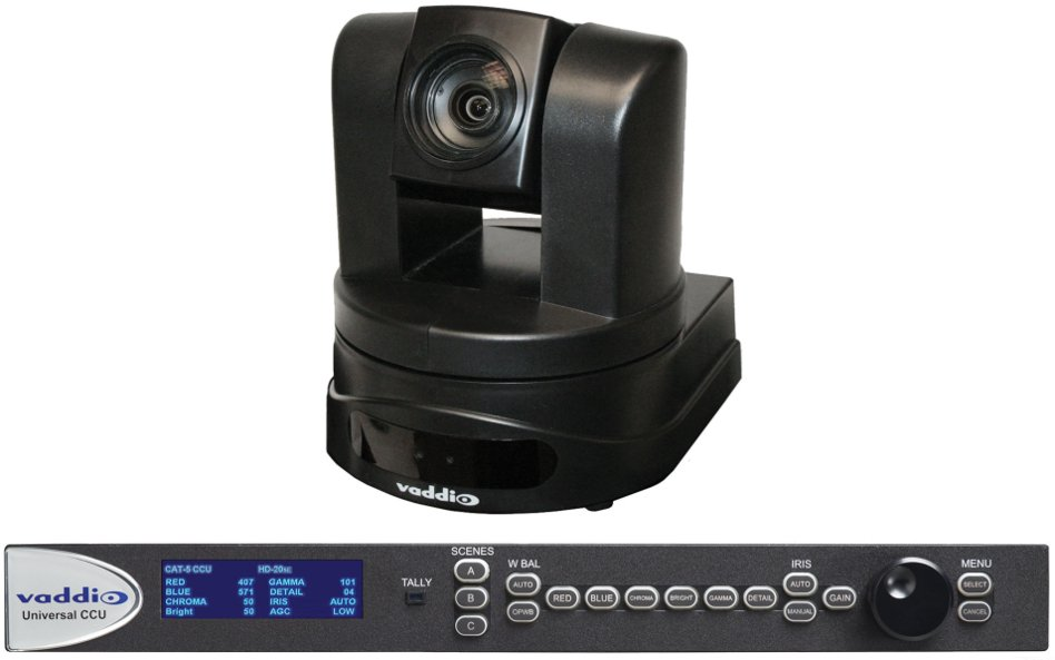 HD PTZ Camera in Black or White with Quick Connect CCU