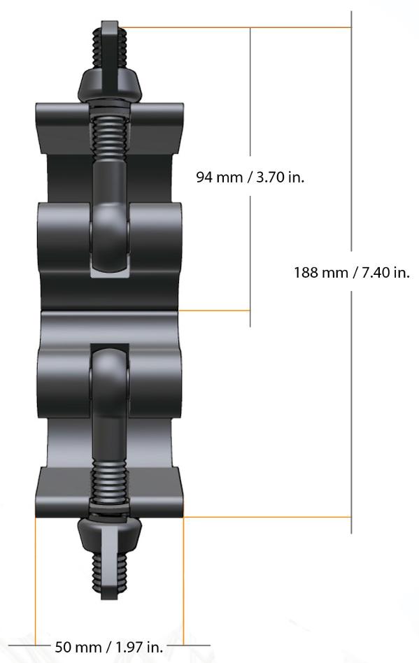 Heavy Duty Dual Swivel Clamp in Black