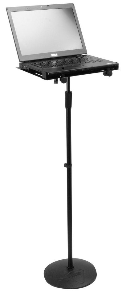 Microphone Stand-Mounted Laptop / Accessory Tray