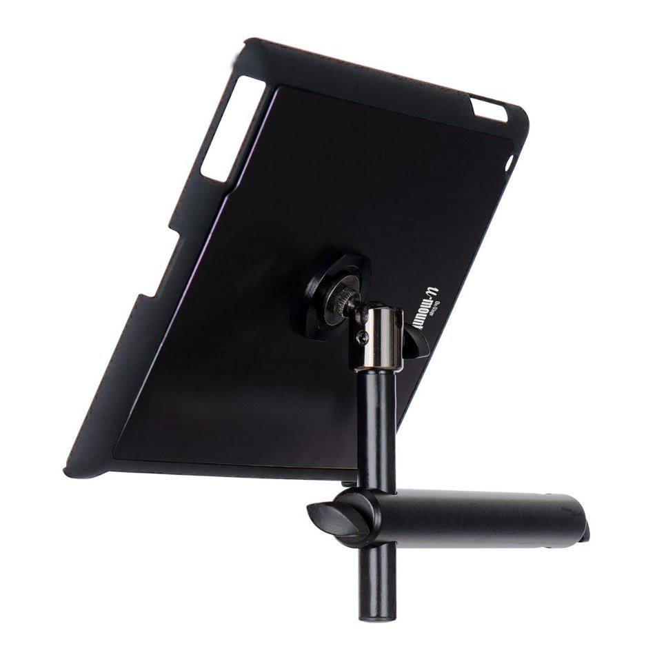 Snap-On iPad Microphone Stand Mount with u-mount in Black