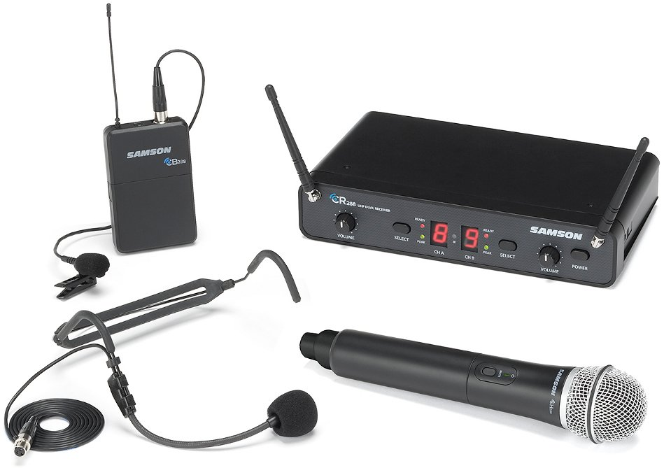 Dual-Channel Wireless Microphone System with Handheld, Bodypack Transmitters
