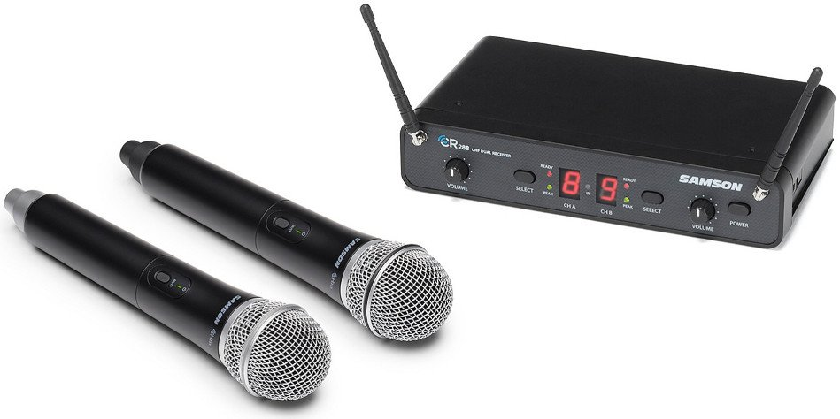 Wireless Microphone System with 2x Handheld Transmitters