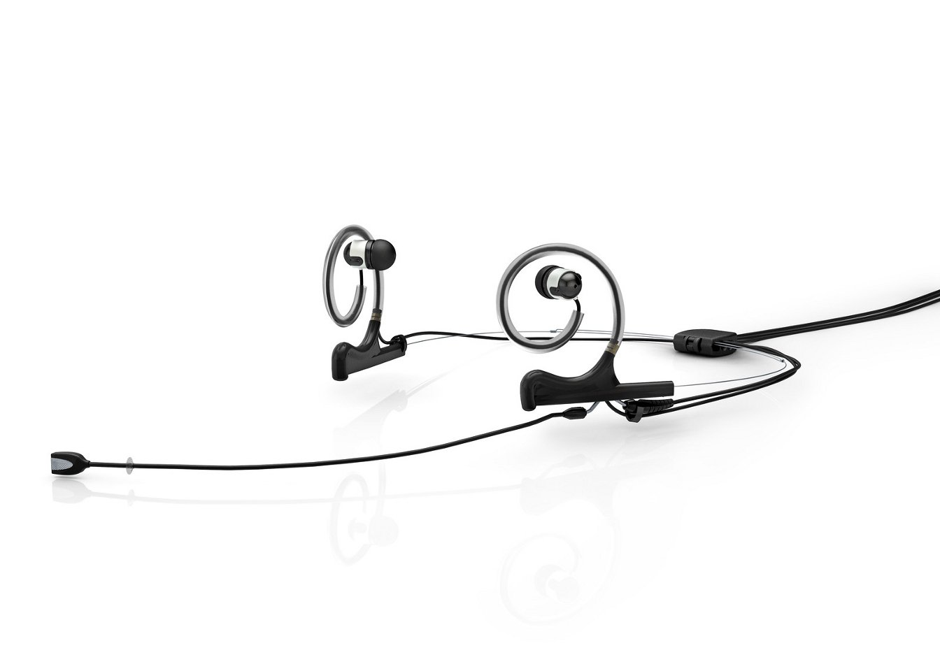 Dual-Ear Mount, Single In-Ear, w/ Mic Cable for Earhook Slide