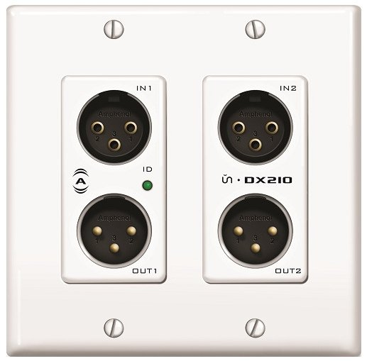 2 In / 2 Out Dante Audio Interface 2-Gang Wall Box
