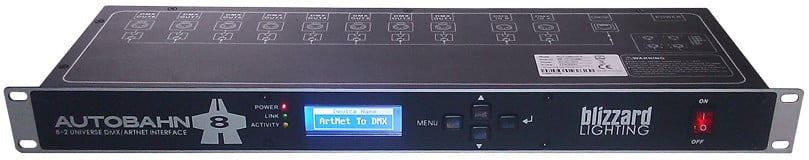 1RU 8-Port DMX to Artnet Rackmount Unit