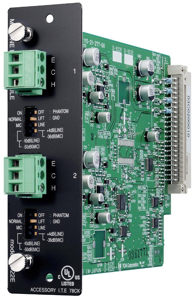 2-channel Terminal Block Input Module for TOA D-901 Mixer