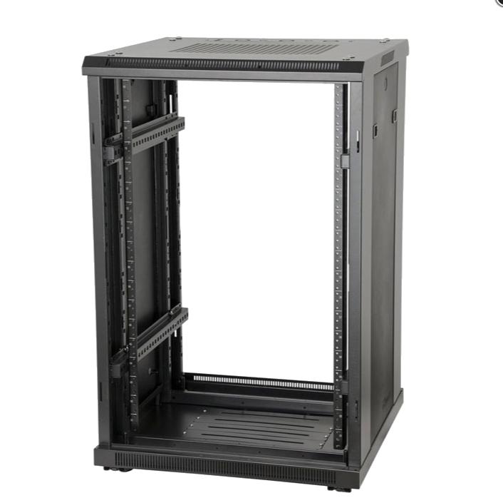 """22U, 23"""" Deep Metal Floor Standing Rack w/ Steel Back Door, Vented Glass Front Door"""