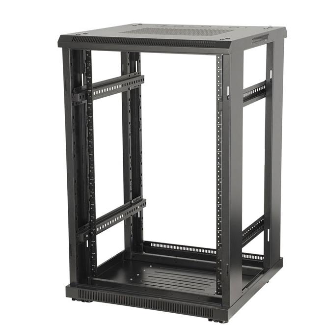 """18U, 23"""" Deep Metal Floor Standing Rack w/ Glass Door"""