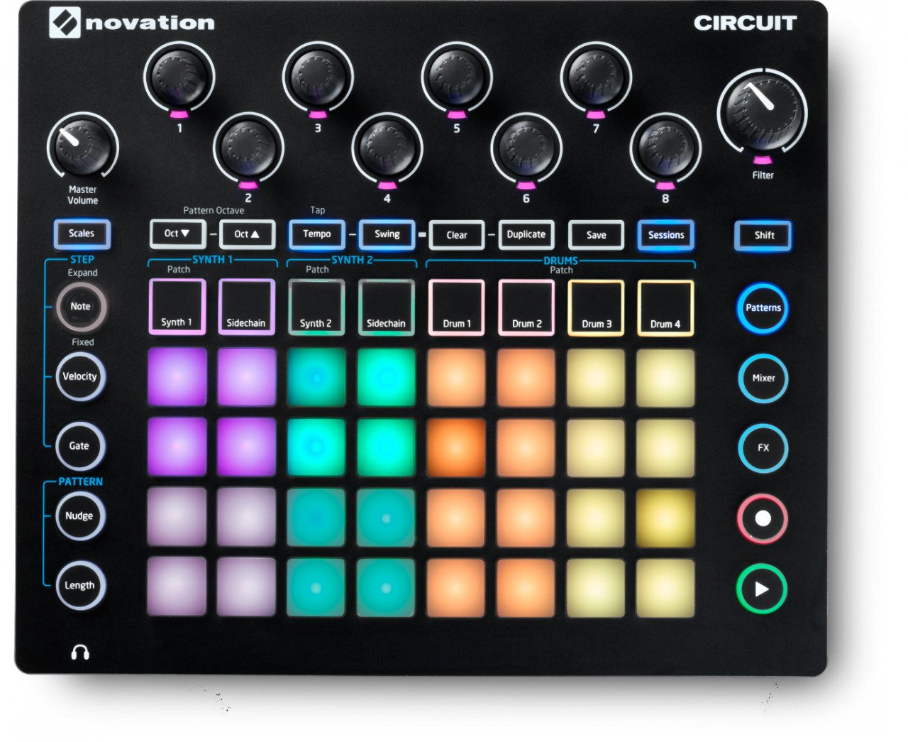 Nova Synth and Drum Machine with Circuit Components Suite