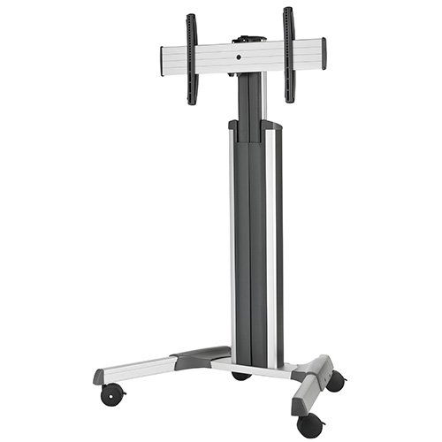 Large FUSION Manual Height Adjustable Mobile Cart, Silver